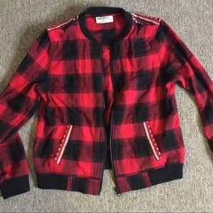 Buffalo plaid embroidered jacket